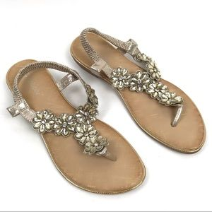 Qianbailv 42 Floral Jeweld Pull On Sandals Shoes